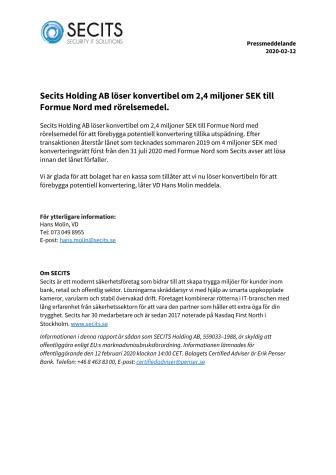 Secits Holding AB löser konvertibel om 2,4 miljoner SEK till Formue Nord med rörelsemedel.