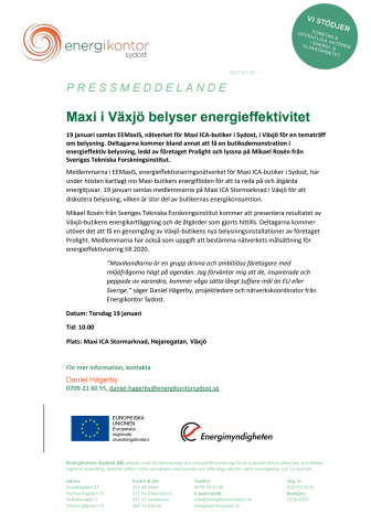 Maxi i Växjö belyser energieffektivitet