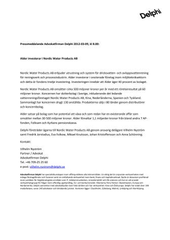 Alder investerar i Nordic Water Products AB