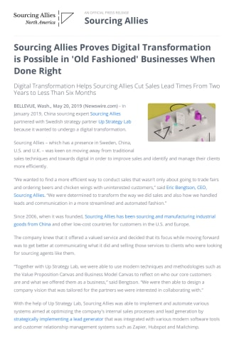Sourcing Allies Proves Digital Transformation is Possible in 'Old Fashioned' Businesses When Done Right