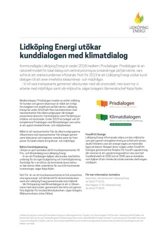 Lidköping Energi utökar kunddialogen med klimatdialog