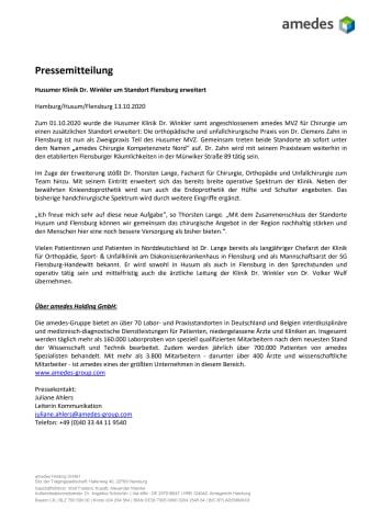 Husumer Klinik Dr. Winkler um Standort Flensburg erweitert