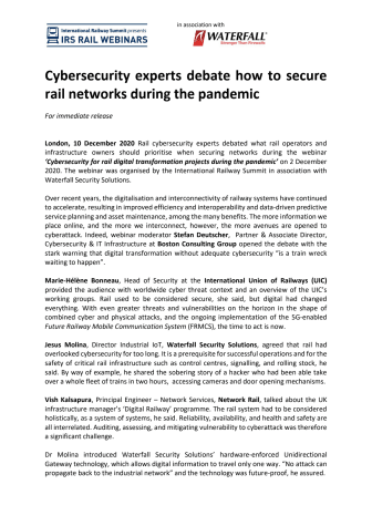 Cybersecurity experts debate how to secure rail networks during the pandemic