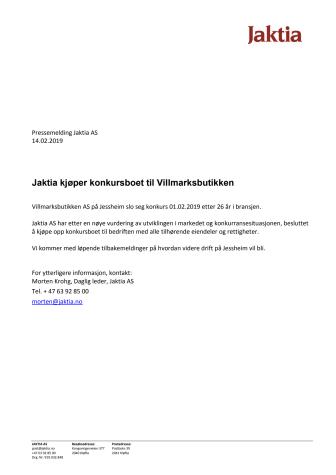Jaktia kjøper konkursboet til Villmarksbutikke