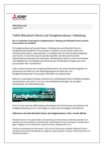 Träffa Mitsubishi Electric på Fastighetsmässan i Göteborg
