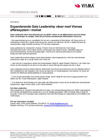 Expanderande Gaia Leadership växer med Vismas affärssystem i molnet