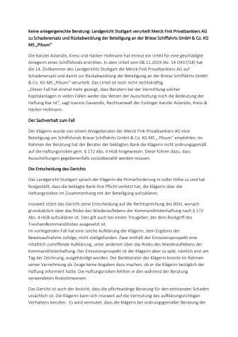 """Keine anlegergerechte Beratung: Landgericht Stuttgart verurteilt Merck Fink Privatbankiers AG zu Schadenersatz und Rückabwicklung der Beteiligung an der Briese Schiffahrts GmbH & Co. KG MS """"Pilsum"""""""