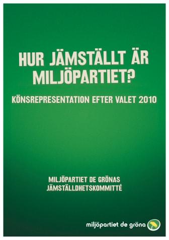 """Miljöpartiets Jämställdhetskommittés rapport """"Hur jämställt är Miljöpartiet?"""""""