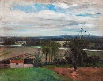 """Carl Fredrik Hill, """"Landskap från Bois-le-Roi"""" / """"Landskap med träd och bondgård"""". Utrop 800 000 - 1 000 000 SEK."""