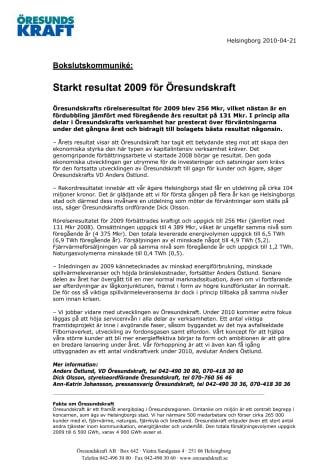 Starkt resultat 2009 för Öresundskraft