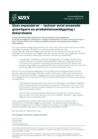 Sizes expanderar – tecknar avtal avseende ytterligare en produktionsanläggning i Oskarshamn