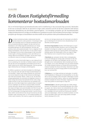 Erik Olsson Fastighetsförmedling kommenterar bostadsmarknaden 21 juli 21.pdf