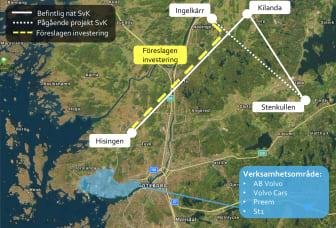 Bilden visar Göteborg Energis förslag för att dubblera eleffekten i Göteborgsregionen.