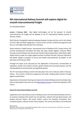9th International Railway Summit will explore digital for smooth intercontinental freight