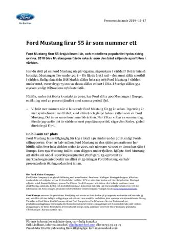 Ford Mustang firar 55 år som nummer ett