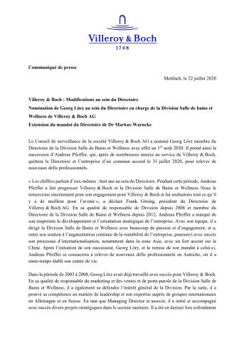 Villeroy & Boch : Modifications au sein du Directoire. Nomination de Georg Lörz au sein du Directoire en charge de la Division Salle de Bains et Wellness de Villeroy & Boch AG. Extension du mandat du Directoire de Dr Markus Warncke