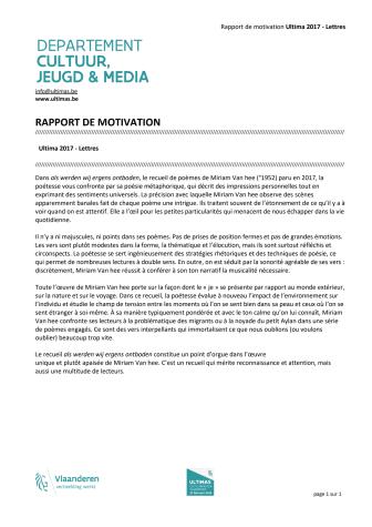 Rapport de motivation Ultimas 2017 - Lettres