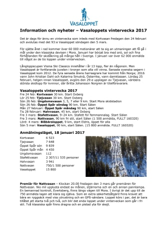Information och nyheter Vasaloppets vintervecka 2017