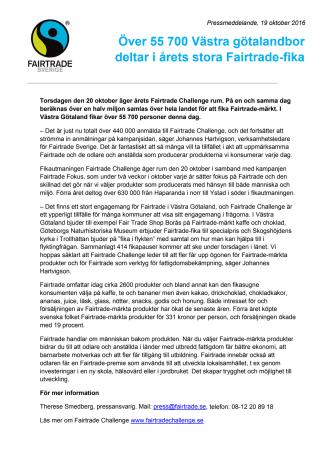 Över 55 700 Västra götalandbor deltar i årets stora Fairtrade-fika