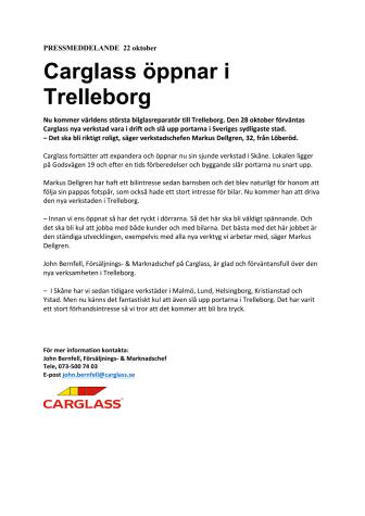 Carglass® öppnar i Trelleborg