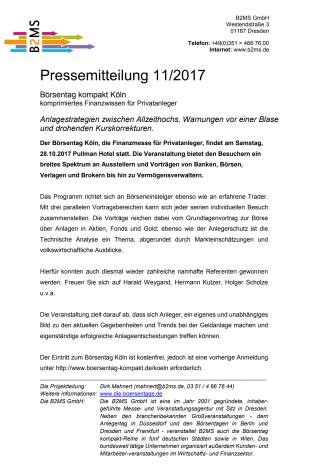 Börsentag kompakt Köln, 28.10.2017 - Anlagestrategien zwischen Allzeithochs, Warnungen vor einer Blase und drohenden Kurskorrekturen