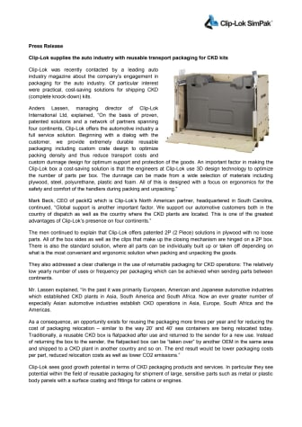 Clip-Lok supplies the auto industry with reusable transport packaging for CKD kits
