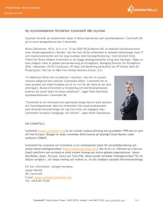 Ny styrelseledamot förstärker Comintelli ABs styrelse