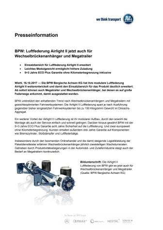 BPW: Luftfederung Airlight II jetzt auch für Wechselbrückenanhänger und Megatrailer