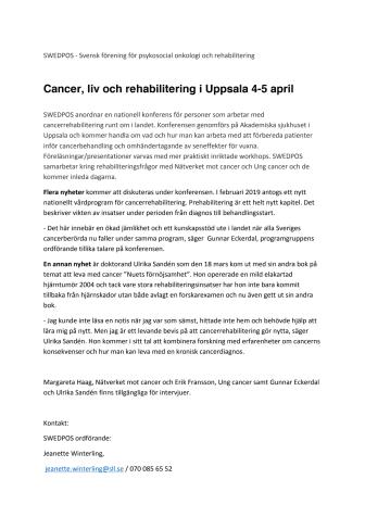Cancer, liv och rehabilitering i Uppsala 4-5 april