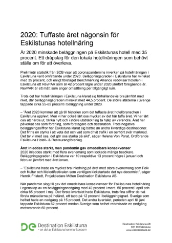 2020: Tuffaste året någonsin för Eskilstunas hotellnäring