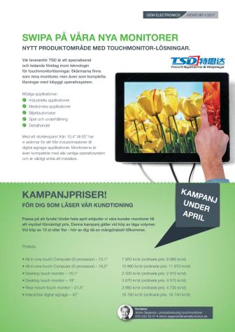 Swipa på våra nya monitorer - Nytt produktområde med touchmonitor-lösningar.