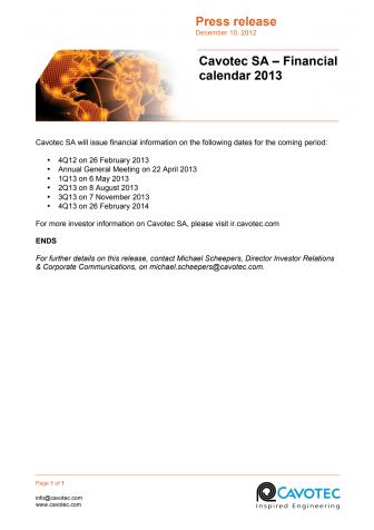 Cavotec SA – Financial Calendar 2013