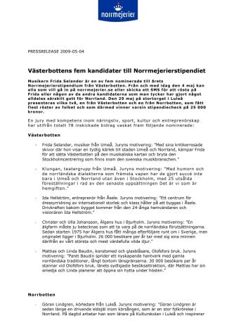 Västerbottens fem kandidater till Norrmejerierstipendiet