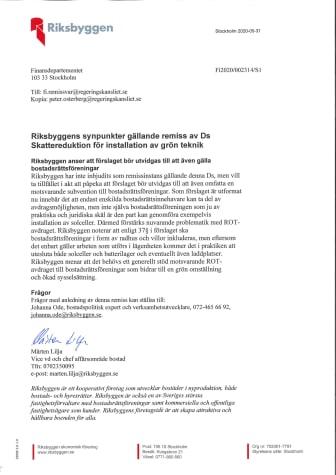 Riksbyggens synpunkter gällande remiss av Ds Skattereduktion för installation av grön teknik