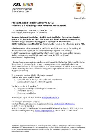 Pressinbjudan till Bostadsform 2012: Från ord till handling – när kommer resultaten?