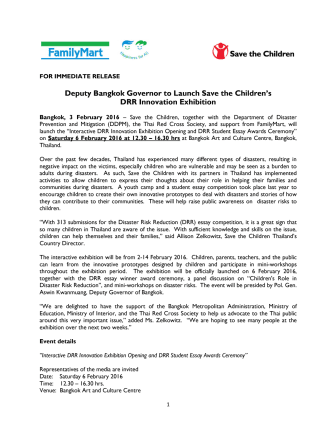 Deputy Bangkok Governor to Launch Save the Children's DRR Innovation Exhibition
