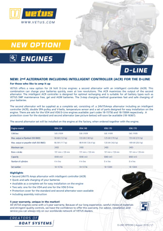 VETUS 24V / 75 Amps alternator with an intelligent controller (ACR) for its D-Line (Deutz) common rail engines - Information Sheet