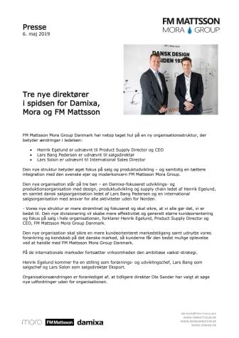 Tre nye direktører i spidsen for Damixa,  Mora og FM Mattsson