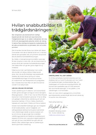 Hvilan snabbutbildar till trädgårdsbranschen