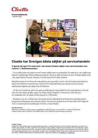 Cloetta har Sveriges bästa säljkår på servicehandeln