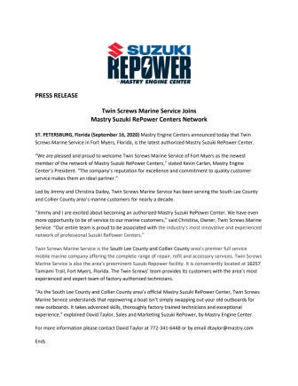 Twin Screws Marine Service Joins Mastry Suzuki RePower Centers Network