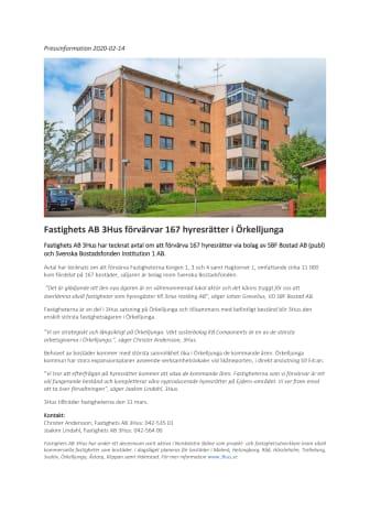 Fastighets AB 3Hus förvärvar 167 hyresrätter i Örkelljunga