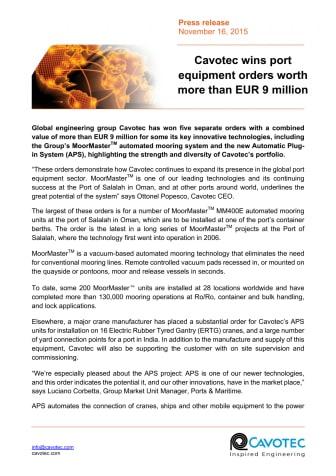 Cavotec wins port equipment orders worth more than EUR 9 million