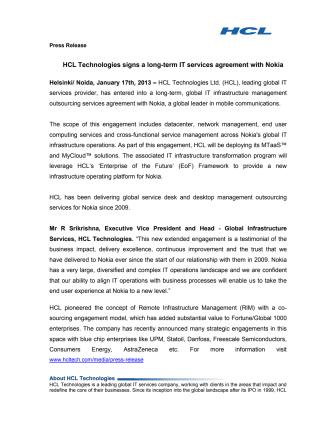 HCL Technologies allekirjoitti monivuotisen palvelusopimuksen Nokian kanssa