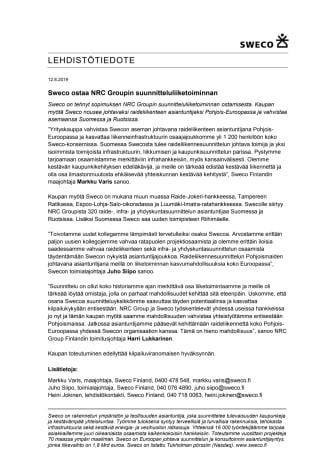 Sweco ostaa NRC Groupin suunnitteluliiketoiminnan