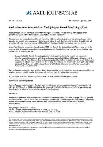 Axel Johnson tecknar avtal om försäljning av Svensk Bevakningstjänst