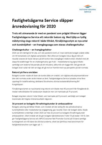 Fastighetsägarna Service släpper årsredovisning för 2020