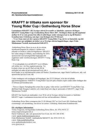 KRAFFT är tillbaka som sponsor för  Young Rider Cup i Gothenburg Horse Show