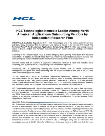 """HCL Technologies sijoitettu statuksella """"Leader"""" sovellusten ulkoistamispalveluiden tarjoajana"""