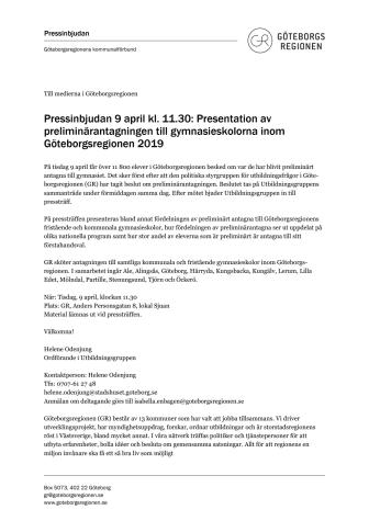 Inbjudan till pressträff tisdag 9 april kl. 11.30 - Presentation av preliminärantagningen till gymnasieskolorna inom Göteborgsregionen 2019